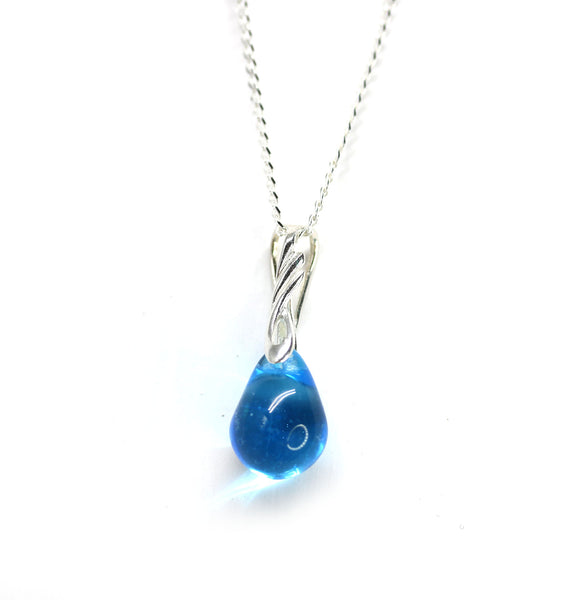 Aqua blue drop glass pendant on sterling silver chain