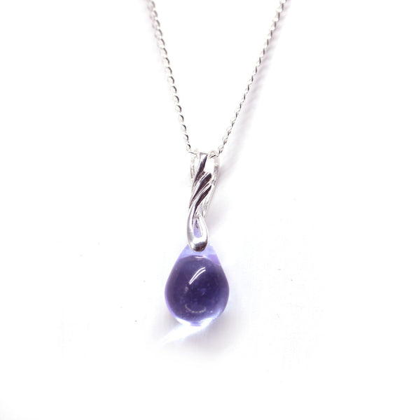 Lilac drop glass pendant on sterling silver chain