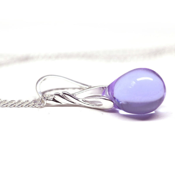 Lilac lavender drop glass pendant on sterling silver chain