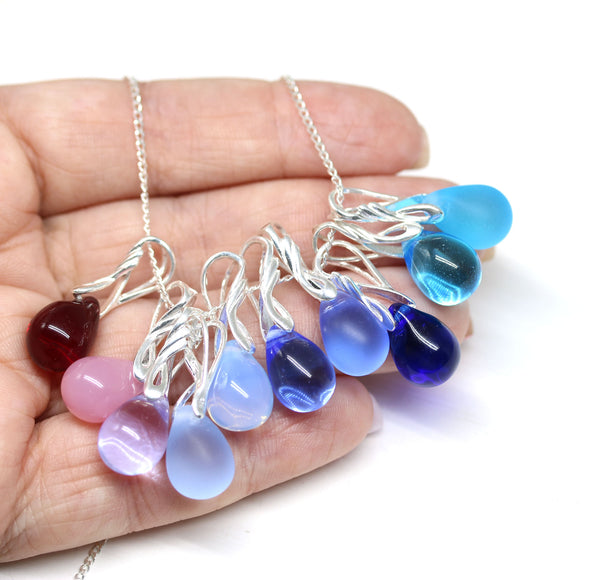 Opal pink drop glass pendant on sterling silver chain