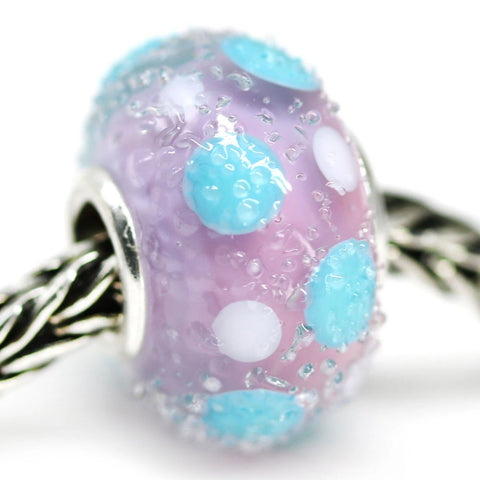 Pink blue dots European bracelet charm handmade Murano glass beads