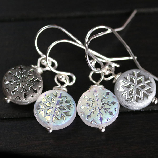 Snowflake sterling silver winter Christmas earrings for women