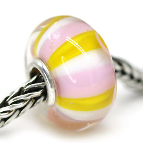 Universal core pink yellow stripes handmade lampwork large hole bead