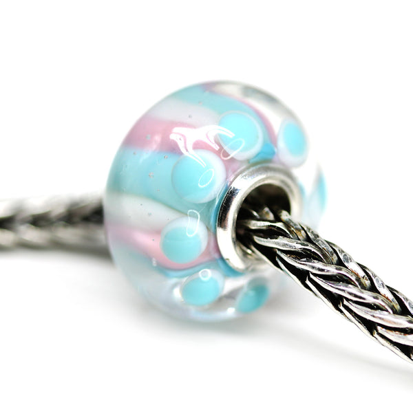 Handmade lampwork Murano glass blue pink stripes large hole bead INVSea