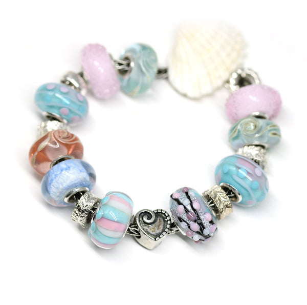 Joyful stripes - pink & blue - European bead