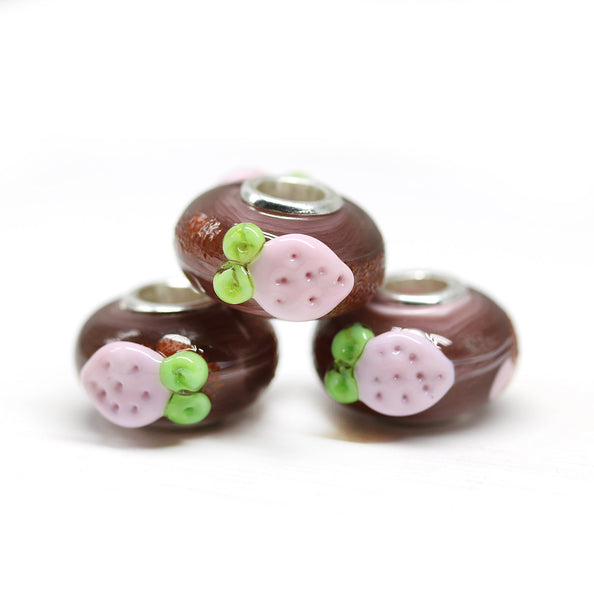 Strawberry charm Pandora style bracelet beads Murano glass Large hole bead