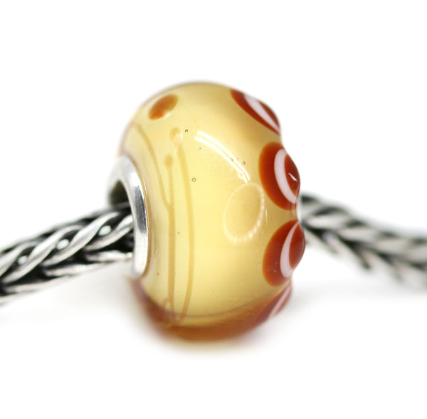Topaz European style bracelet bead with dots handmade lampwork glass