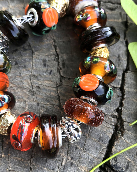 Silver cored fall colors European bracelet beads for Pandora Murano glass