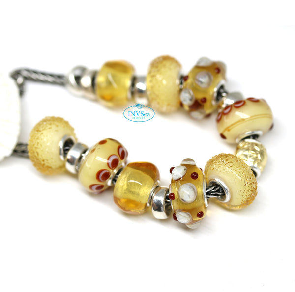 Light topaz European bead organic shape