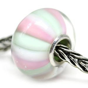 Handmade lampwork Murano glass green pink stripes large hole bead INVSea
