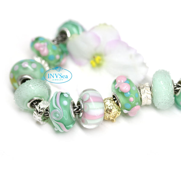 Joyful stripes - pink & mint - European bead