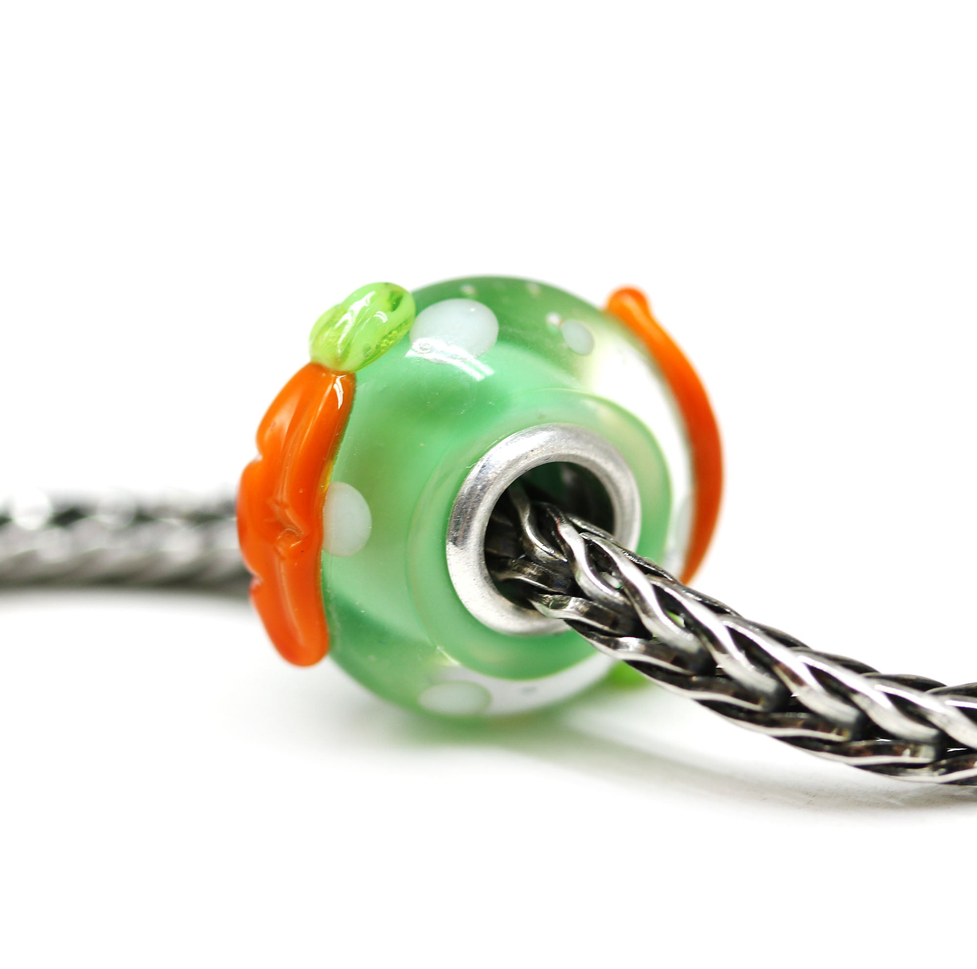 Easter carrots on green bracelet bead