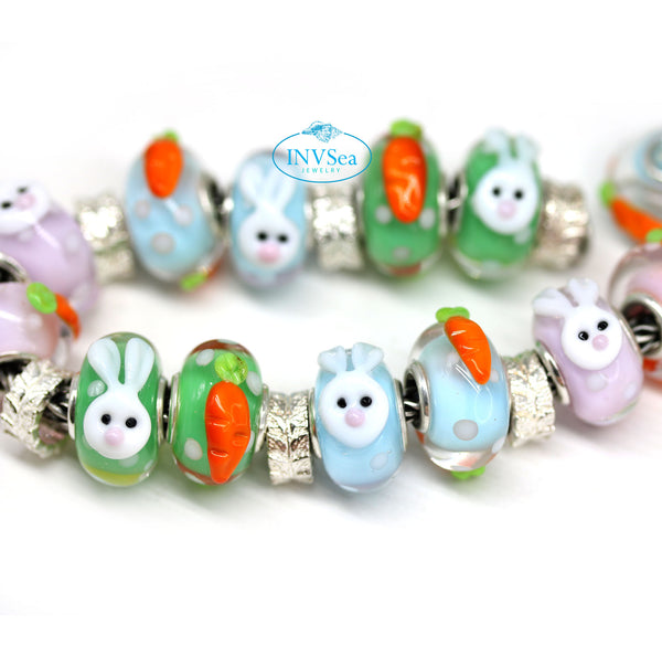 Easter collection bunny carrots artisan lampwork European bracelet bead Murano glass
