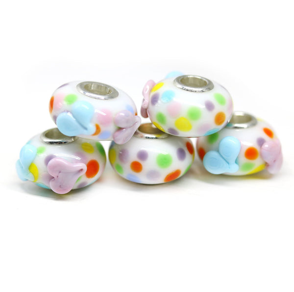 Confetti hearts multicolor lampwork European bracelet bead Murano glass