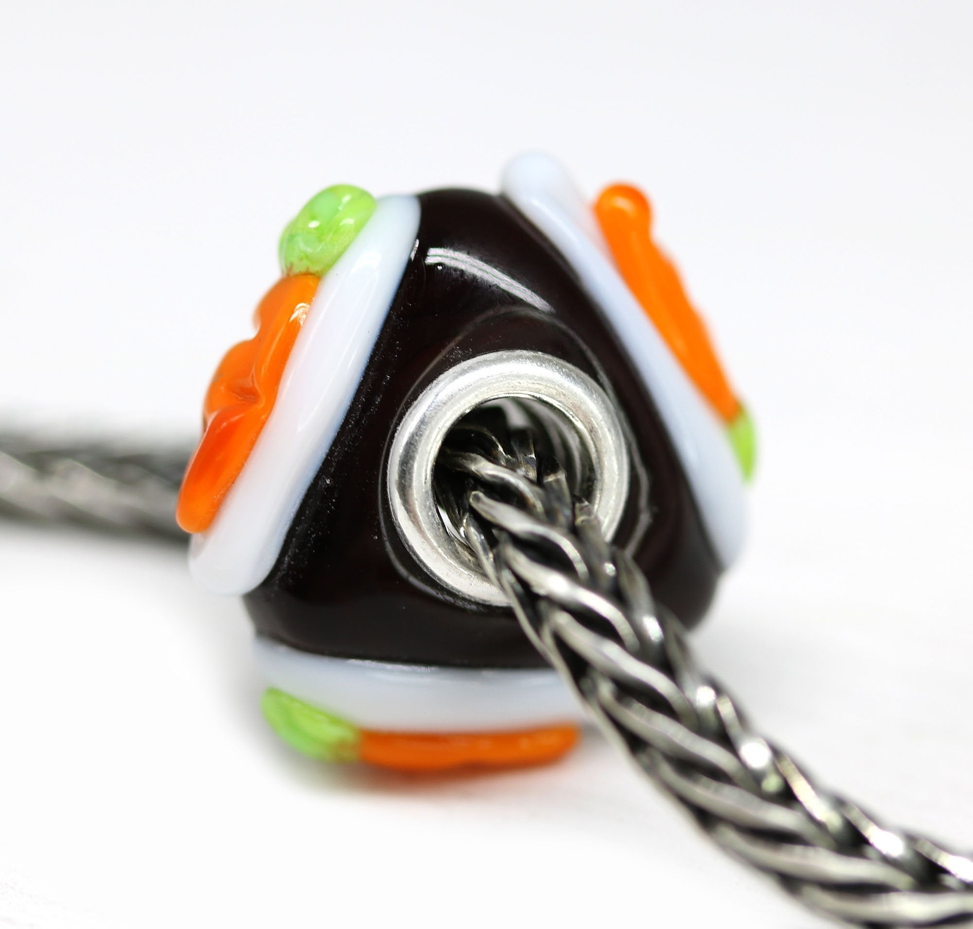Carrot cake food dessert lampwork European bracelet bead Murano glass