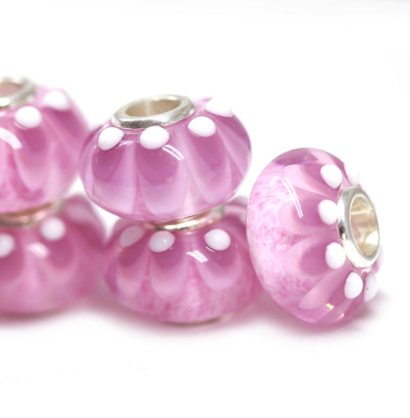 Silver core pink pandora style beads Muranos charm INVSea