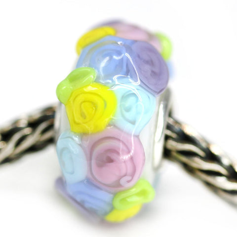 Flower blooming handmade lampwork European bracelet bead Murano glass