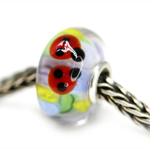 Red ladybugs handmade lampwork European bracelet bead Murano glass