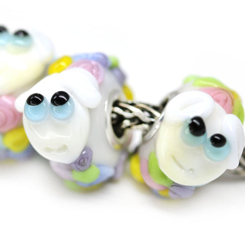 Sheep animal handmade lampwork European bracelet bead Murano glass