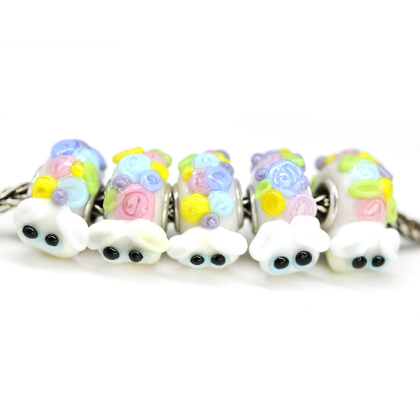 Hiding in flower bush Sheep European bracelet bead