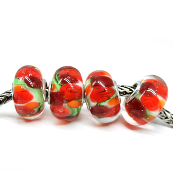 Red roses handmade lampwork European bracelet large hole bead Murano glass