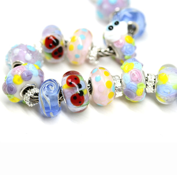 Secret garden with ladybugs European bracelet bead