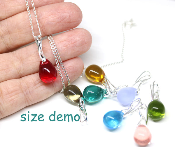 Frosted clear glass drop pendant on sterling silver chain