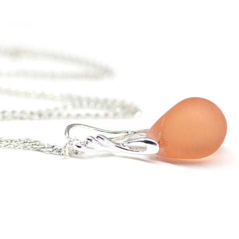 Frosted peach drop glass pendant on sterling silver chain