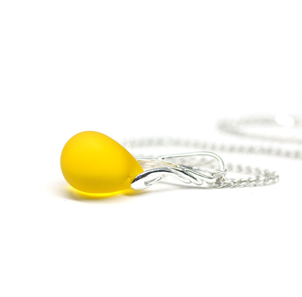Bright yellow drop glass pendant on sterling silver chain dainty necklace
