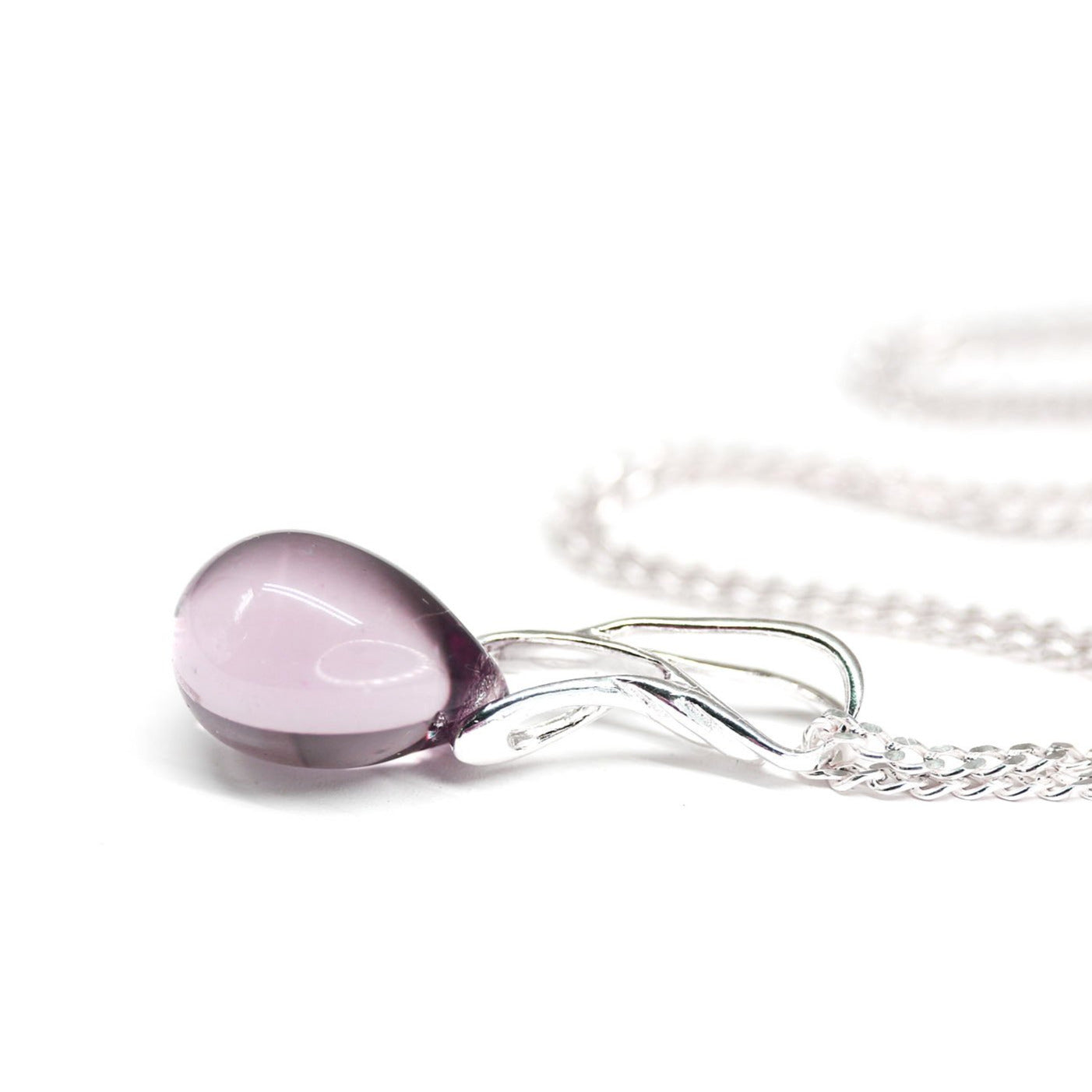 Light purple drop glass pendant on sterling silver chain women jewelry
