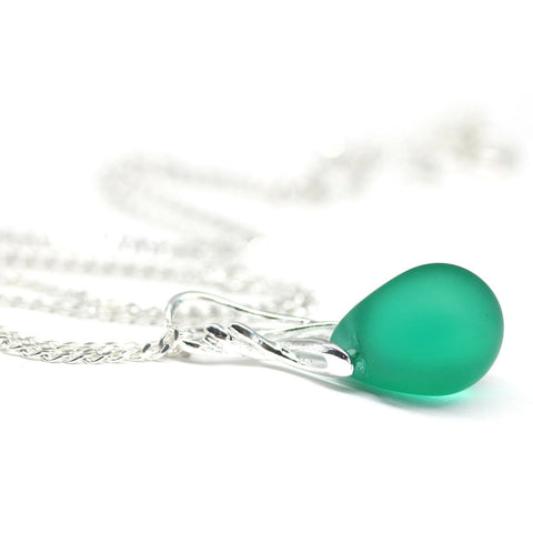 Frosted teal green Ocean drop glass pendant on sterling silver chain