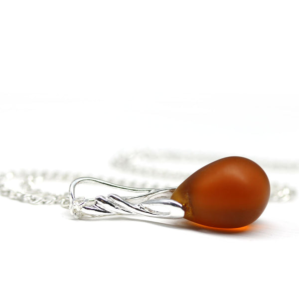Brown drop glass pendant on sterling silver chain dainty women jewelry