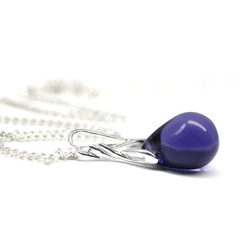 Blue purple jewelry drop glass pendant on sterling silver chain