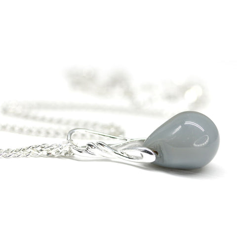 Gray drop glass pendant on sterling silver chain casual wear jewelry