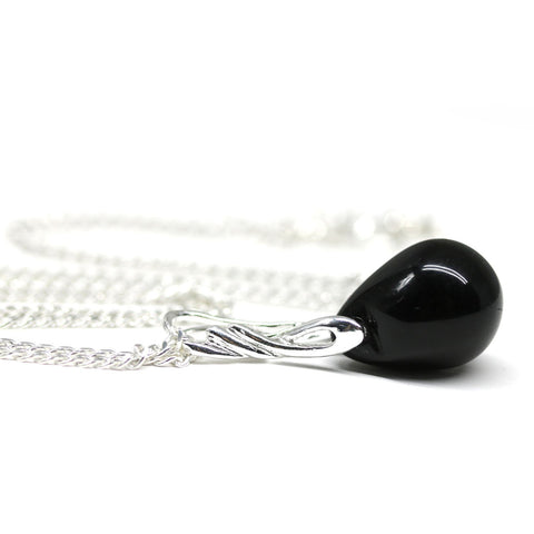 Black drop glass pendant on sterling silver chain Handmade beaded jewelry