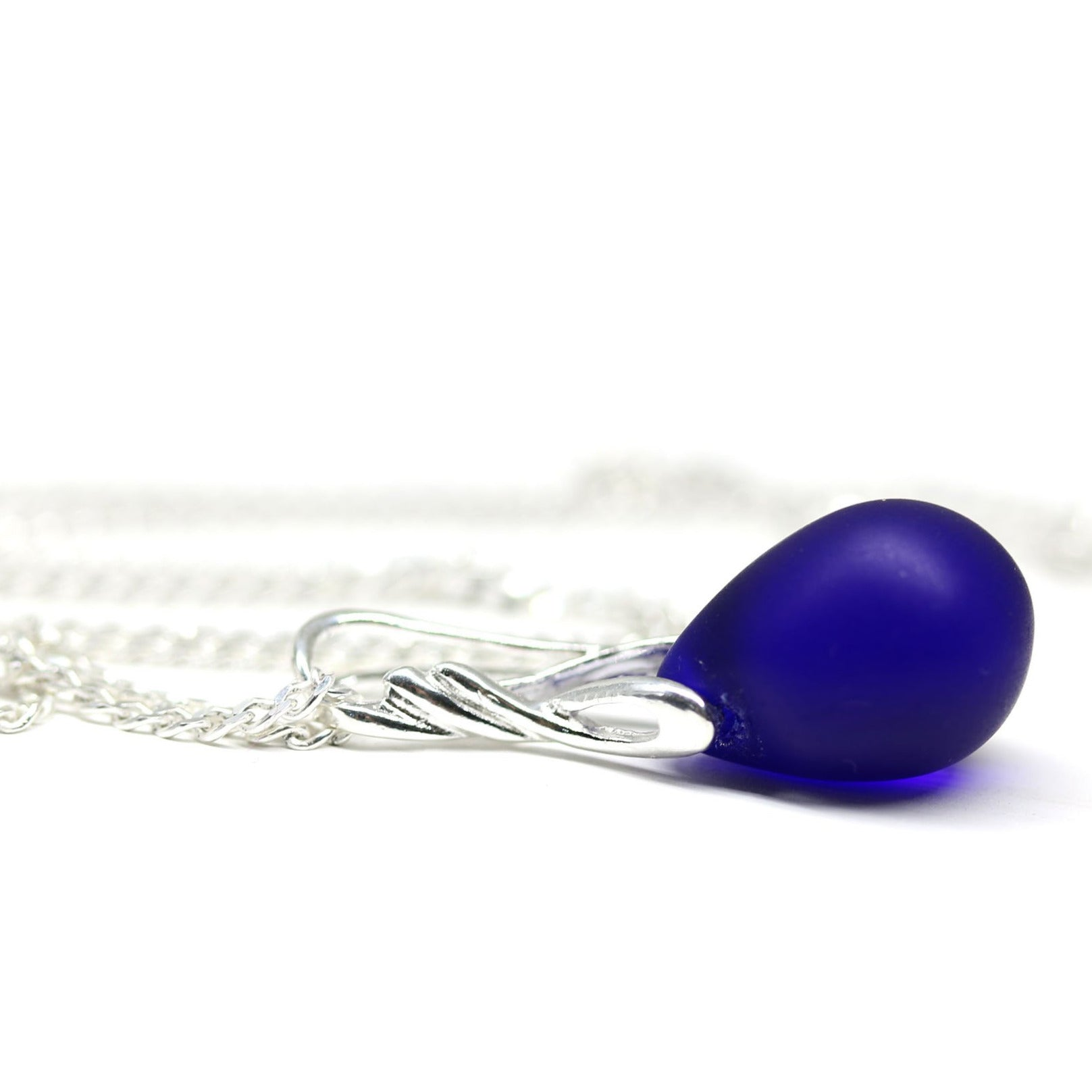 Dark blue drop glass pendant on sterling silver chain dainty necklace