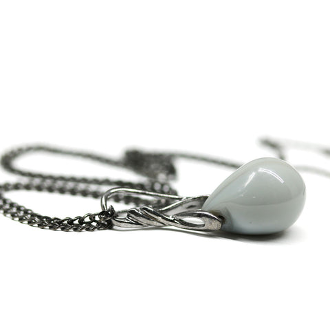 Pastel gray drop glass pendant on black rhodium chain Casual jewelry