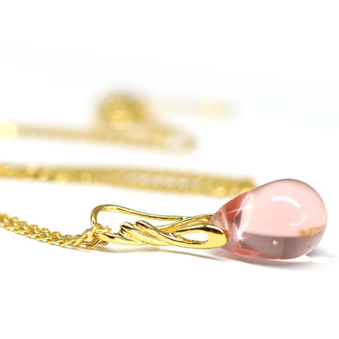 Rosaline Pink drop pendant on golden coated chain Czech glass jewelry