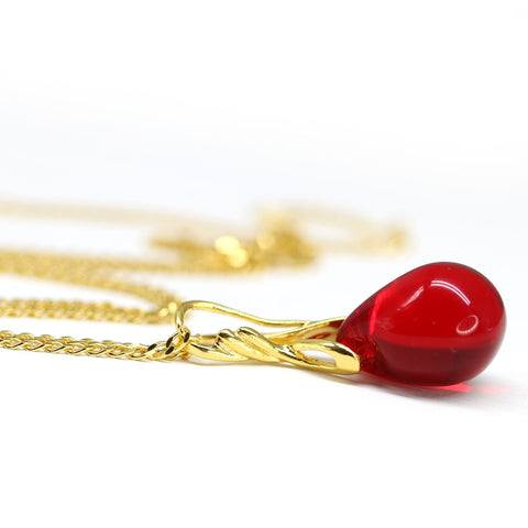 Red drop glass pendant on golden coated chain Czech glass jewelry