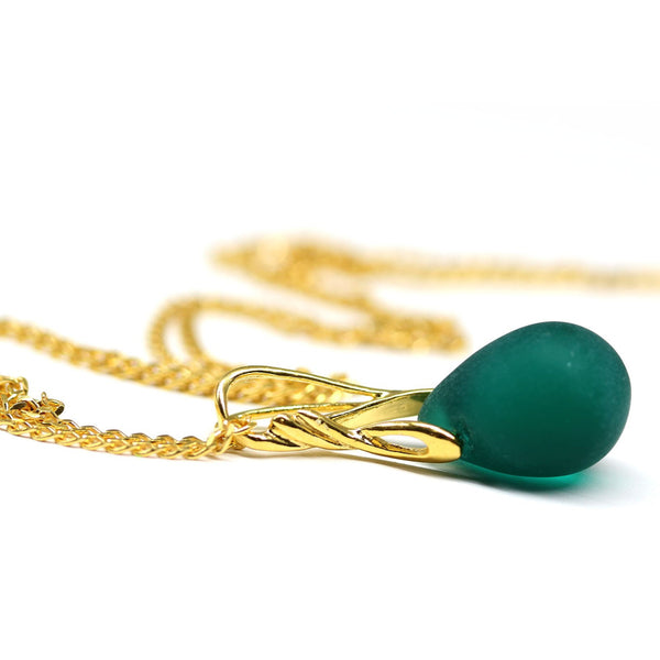 Dark green drop glass pendant on golden coated chain Czech glass jewelry