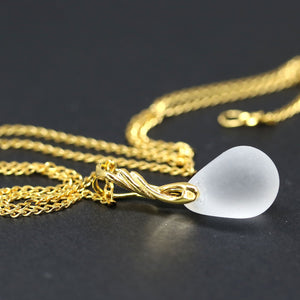 Frosted clear drop glass pendant on golden coated chain Czech glass jewelry
