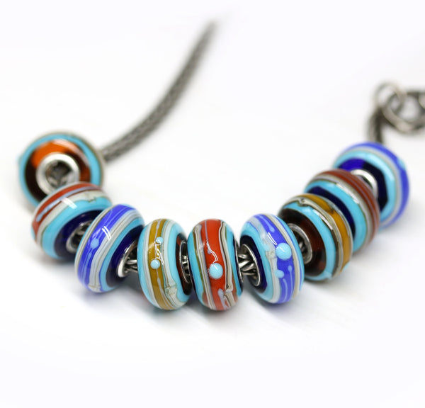 Blue yellow European bracelet bead
