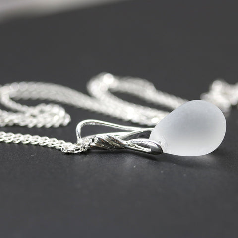 Frosted clear glass drop pendant on sterling silver chain Casual jewelry