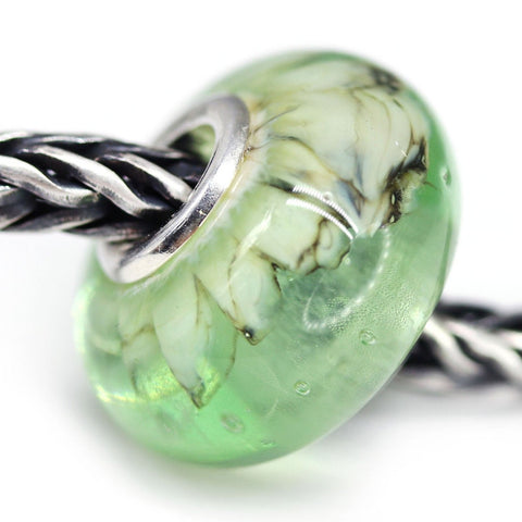 Antique Green Murano glass European bracelet bead handmade lampwork