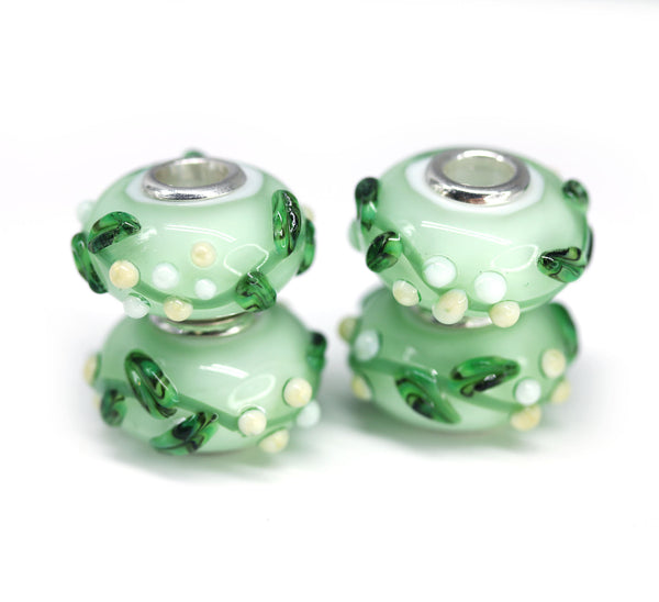 Green vine Murano glass European bracelet bead handmade large hole lampwork