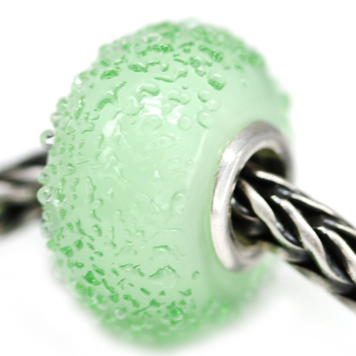 Antique green European bracelet bead sugar coating handmade lampwork