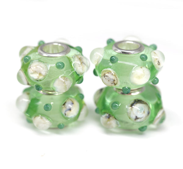 Green Murano glass European bracelet bead handmade large hole lampwork charms