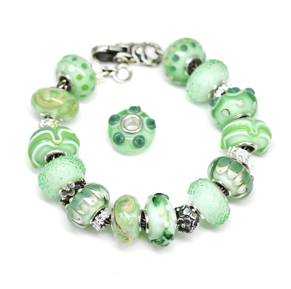 Green Murano glass European bracelet beads handmade lampwork large hole charms by INVSea