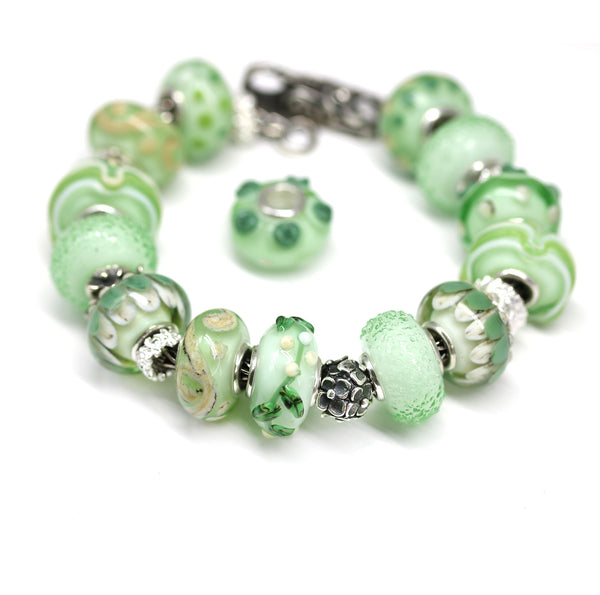 Green vine Murano glass European bracelet bead handmade large hole lampwork charms