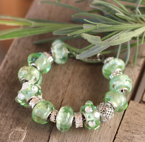 Antique Green Murano glass European bracelet beads handmade lampwork large hole charms INVSea